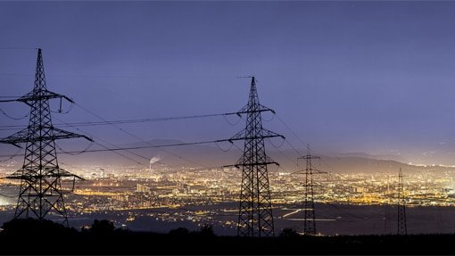Transmission towers cityscape