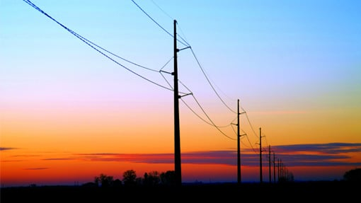 Transmission wires with sunset